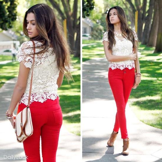 Kırmızı Pantolon Kombineleri