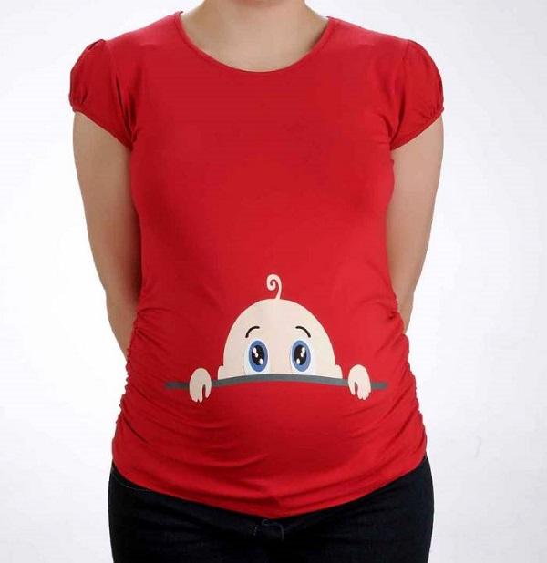 Kırmızı Hamile Tişörtleri